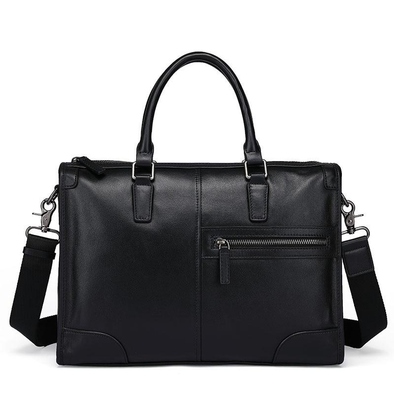 New Designer Brand Genuine Cow Leather Men's Briefcase Fashion Solid Color Mens Shoulder Bag Business Laptop Bag