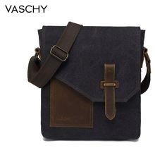 VASCHY Lightweight Irregular Mens Small Messenger Bag Vintage Cowhide Leather Water Resistant Canvas Crossbody Shoulder Bags