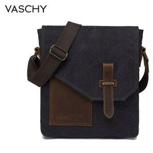 Image 1 - VASCHY Lightweight Irregular Mens Small Messenger Bag Vintage Cowhide Leather Water Resistant Canvas Crossbody Shoulder Bags