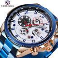 Forsining Бизнес Мужские часы Лидирующий бренд Многоцветный человек часы синий нержавеющая сталь механические Автоматические стильные мужски...