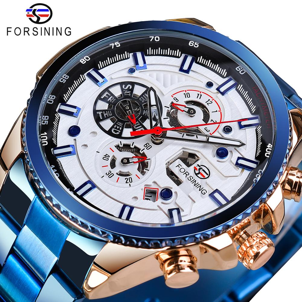 Forsining Business Mens Watches Top Brand Multicolor Man Clock Blue Stainless Steel Mechanical Automatic Stylish Male Wristwatch