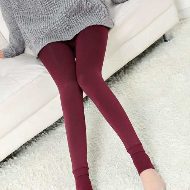 SALSPOR S-3XL Solid Color Women Winter Velet Trousers Female High Elastic Warm Nine pants Ladies Sexy High Waist Slim Leggins 4