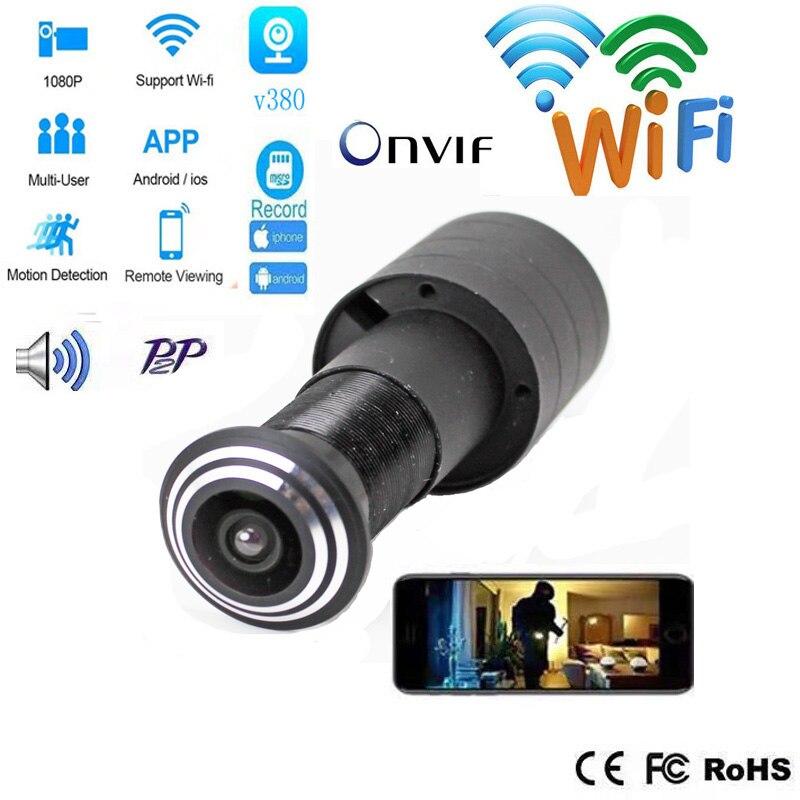 Cámara de ojo de la puerta de seguridad familiar con WiFi, cámara de vigilancia, Mini mirilla, puerta, WifI, cámara IP, tarjeta P2P TF SDETER 1080P Mini cámara inalámbrica WiFi, cámara de seguridad IP CCTV, visión nocturna IR, detección de movimiento, Monitor de bebé P2P