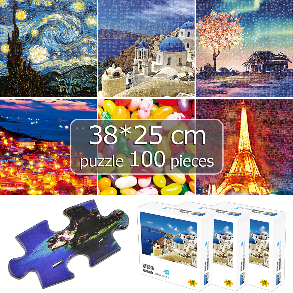 100 Pieces 38*25 Cm Paper Puzzle Game Jigsaw Puzzle Landscapes Decompression Game Adults/Kids Toy Education Brain Home Decor