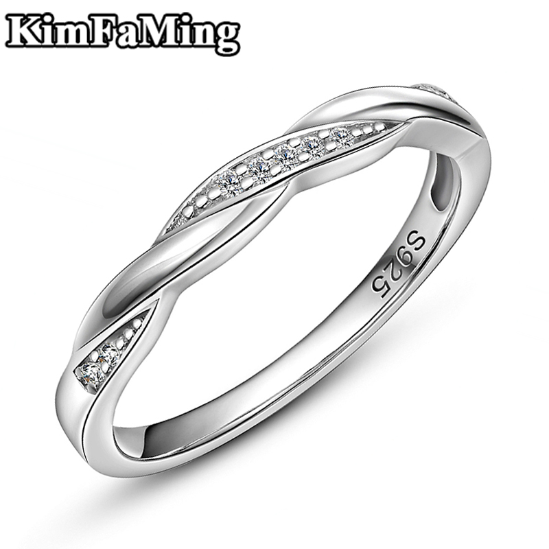 Simple Elegant Women Silver Twisted Rings Delicated Female Zircon Pave Setting Fine Jewellery Casual R100