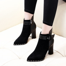 2018 New Winter Women Boots Fashion Thick High Heels Boots Black Autumn Ankle Boots For Ladies Shoes Dropshipping CH-A0106 winter boots women 2018 new fashion ladies shoes sexy ankle boots for women beige black scarpe donna 8cm