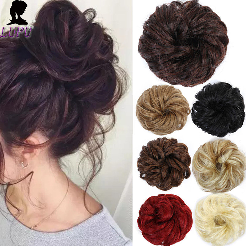 LUPU Messy Wavy Chignon Synthetic Hair Black Brown Elastic Bands Scrunchies Wrap Ponytail Fake Hair Extension Heat Resistant
