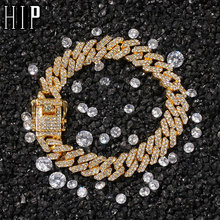 Hip Hop 12MM Bling Iced Out Full Rhinestone Bracelet Geometric AAA CZ Stone Cuban Chain Bracelets For Men Jewelry