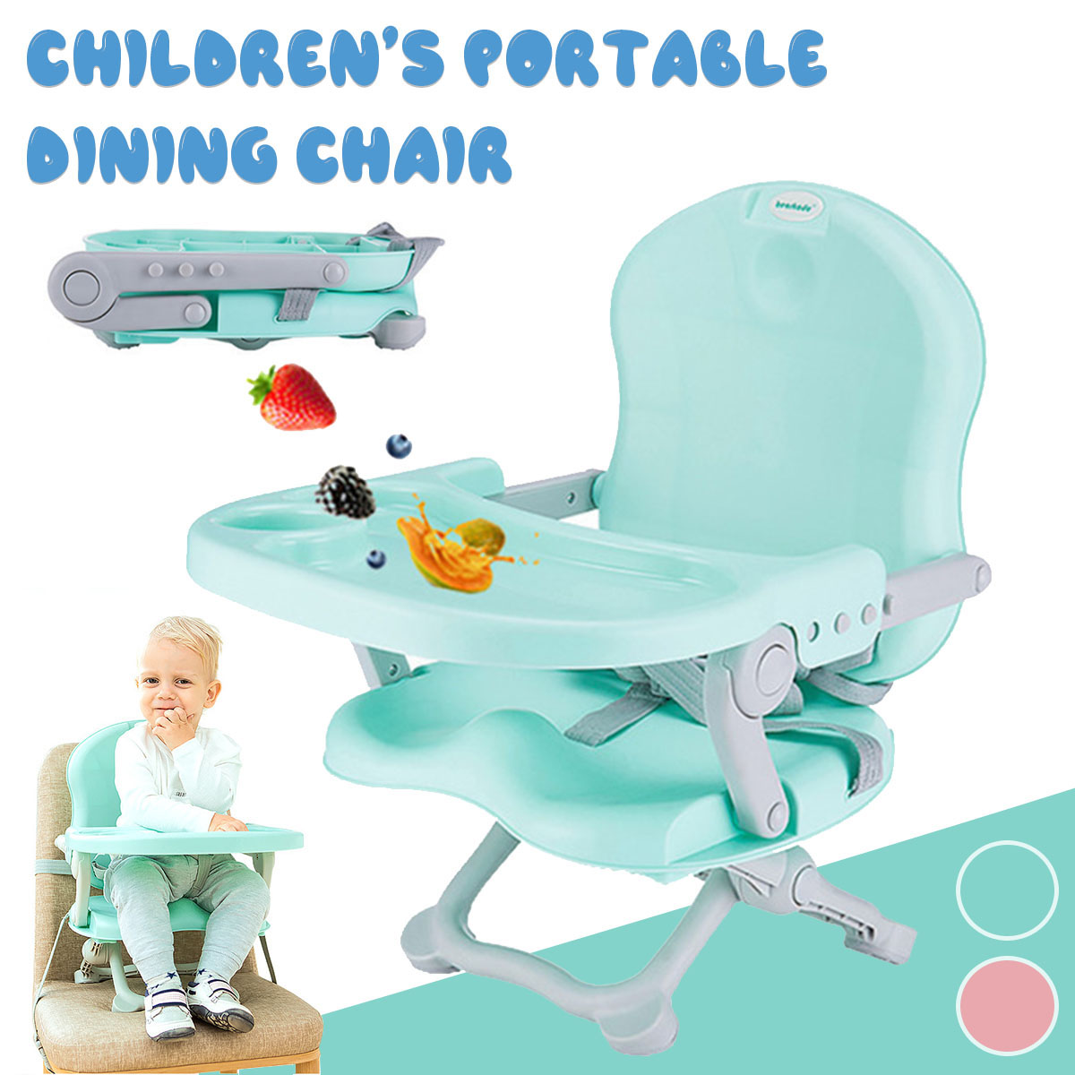 Children Portable Safety Camping Dining Chair Folding Baby Dining Table and Chair Outdoor Folding Multifunctional Infant Feeding