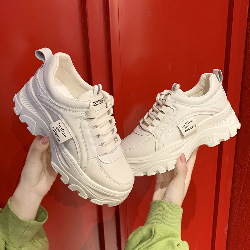 2020 New Stylish Woman Running Shoes High Heel Clunky Sneakers Women Height Platform Breathable Sports Walking Girls Dad Shoes