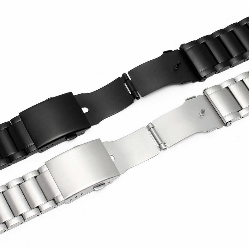 24 مللي متر 26 مللي متر 28 مللي متر 30 مللي متر الفولاذ المقاوم للصدأ حزام (استيك) ساعة حزام الفضة مصقول رجالي فاخر استبدال المعادن مربط الساعة سوار