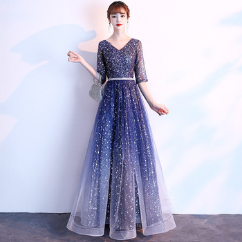Custom Elegant Evening Dresses ES3234 V-Neck Half Sleeves Sashes Sparkly Starry Sky Tulle Long Party Gowns Lange Jurk 2020
