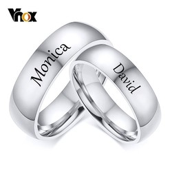 Vnox Free Customize Name Rings for Women Men 6mm Stainless Steel Classic Wedding Bands Anniversary Gift