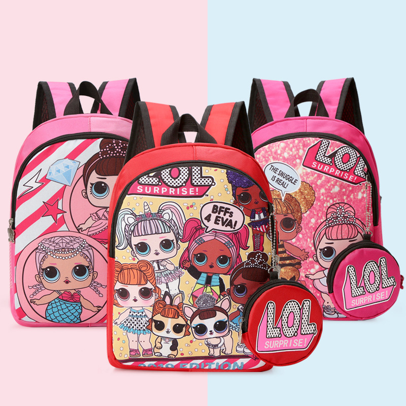 2019 Cartoon LOL Surprise Dolls Kids School Backpack for Girls 11-inch Cute Children's Sports Waterproof Backpack Schoolbag 2S39