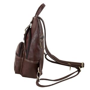 Image 4 - Mini Mochila De Cuero Artificial suave Vintage multifunción para mujer, Bolso pequeño de hombro para mujer, bolsos de pecho de viaje diarios