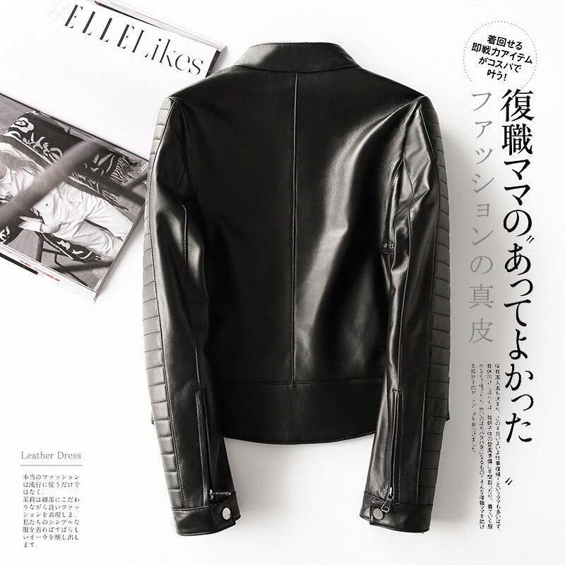 Winter Genuine Leather Jacket Women Clothes 2019 Korean Moto Biker Real Sheepskin Coat Female Fashion Ladies Coat LW1634