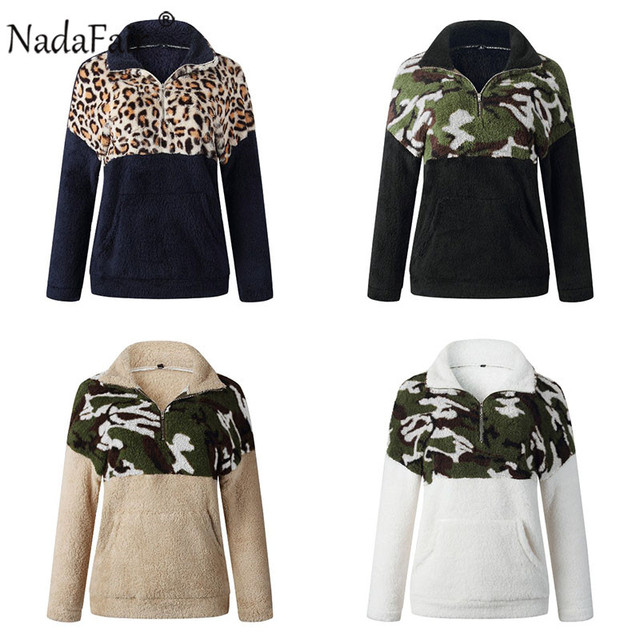 Nadafair Fluffy Oversized Hoodie Leopard Patchwork Zip Fleece Casual Plus Size Sweatshirt Women Pullover Overcoat Hoody Ladies 5