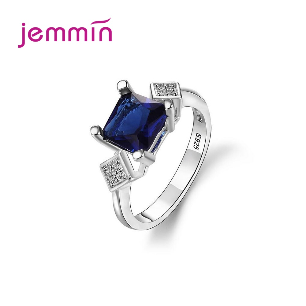 New Arrival 925 Sterling Silver Fashion Statement Rings For Women Wedding Engagement Trendy Style CZ Crystal Prong Setting