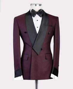 Image 1 - 2020 New Burgundy Red With Black Lapel Mens Slim Fit Formal Suits Custom Made 2 Pieces Wedding Tuxedos Suits Jacket Pants