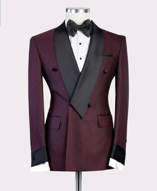 2020 New Burgundy Red With Black Lapel Mens Slim Fit Formal Suits Custom Made 2 Pieces Wedding Tuxedos Suits Jacket Pants
