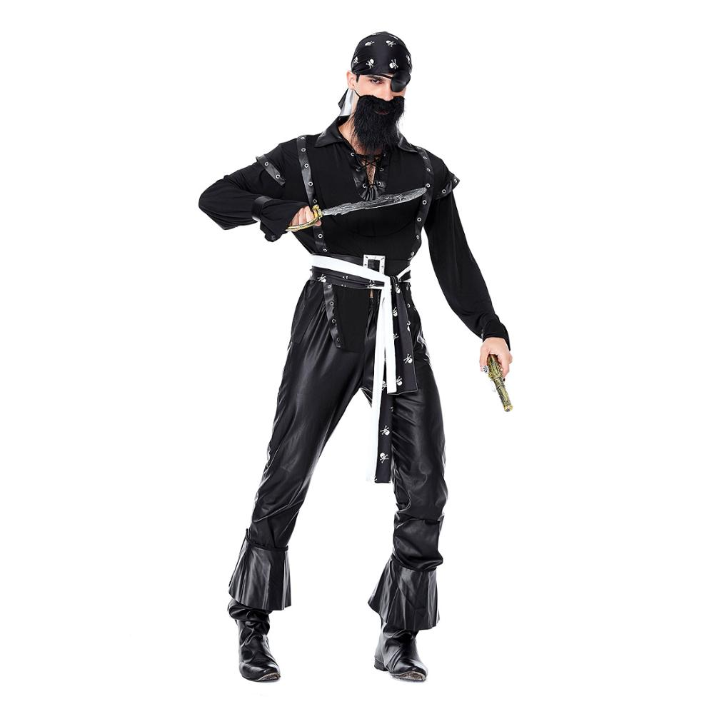 Halloween Black Beard Pirate Costume Men Pirate Fancy Dress Cosplay Party Outfit Masquerade Dress Up Suit Carnival Clothing Suit