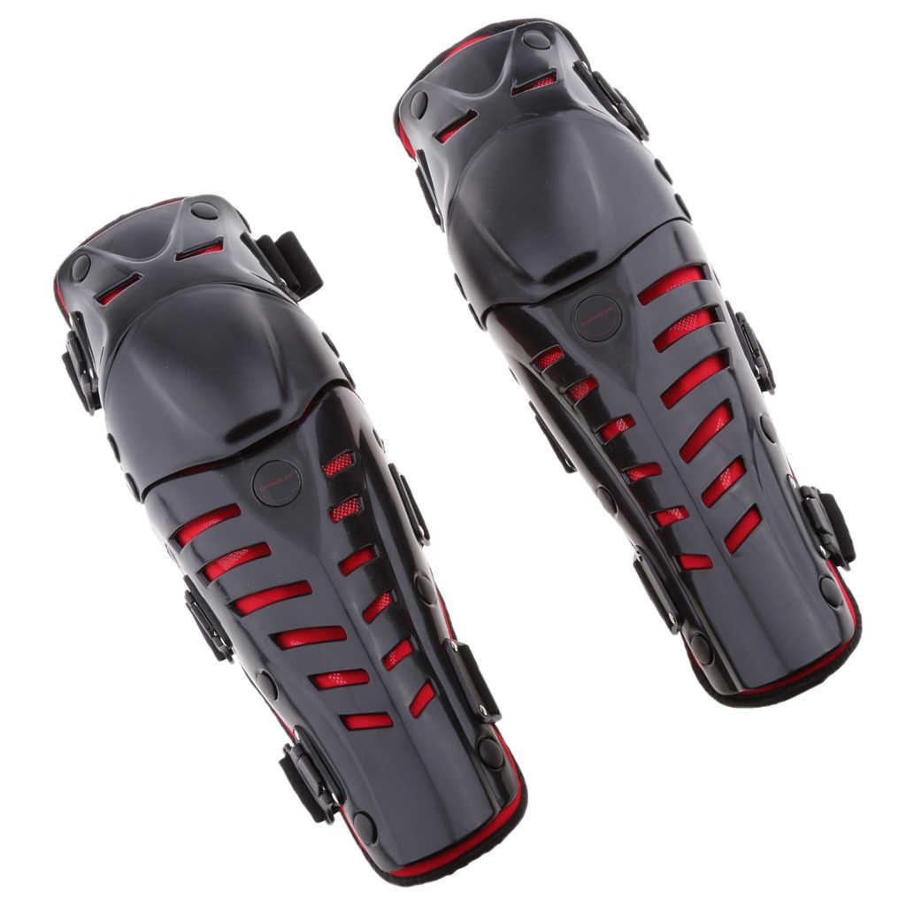 Protetor de joelho cotovelo da motocicleta, joelho shin guarda pads apoio protectiver armadura para moto ciclismo corrida (preto e vermelho)