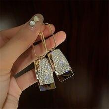 FYUAN-pendientes de gota geométricos para mujer, con diamantes de imitación, aretes colgantes de lentejuelas grandes, accesorios de joyería para fiesta