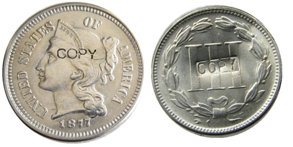 Estados Unidos 1877 de Três Centavos de Níquel Moedas Cópia