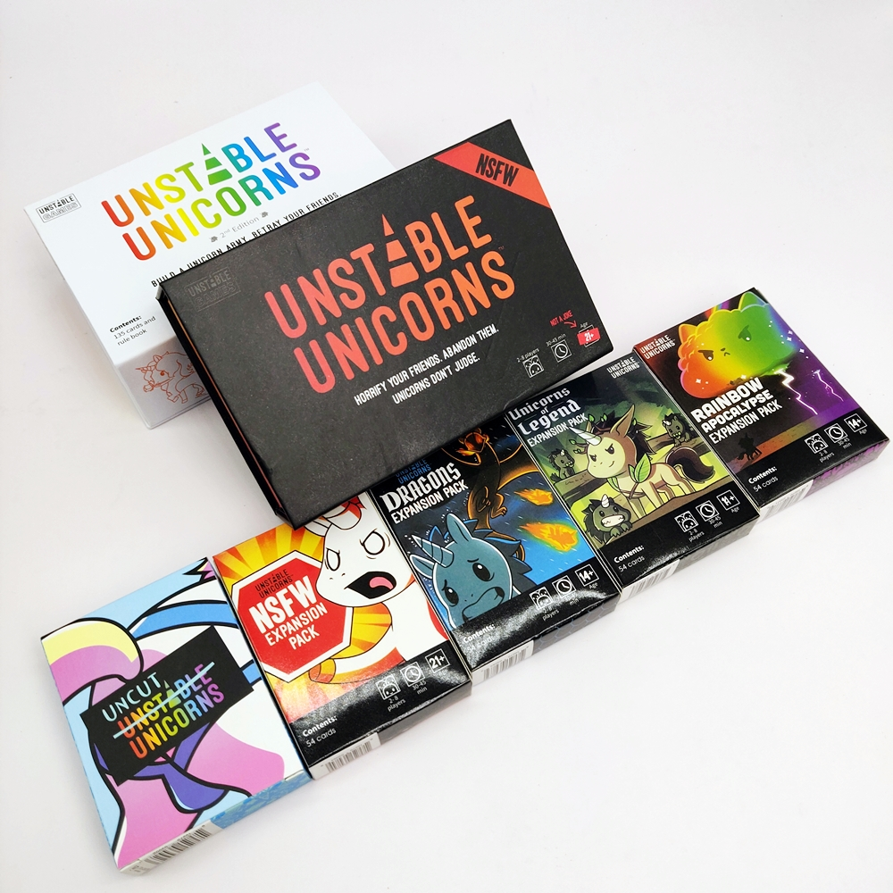New Second Edition Unstable Unicorns Core Board Game Card And Dragons NSFW Rainbow  Uncut Legend Expansion Pack