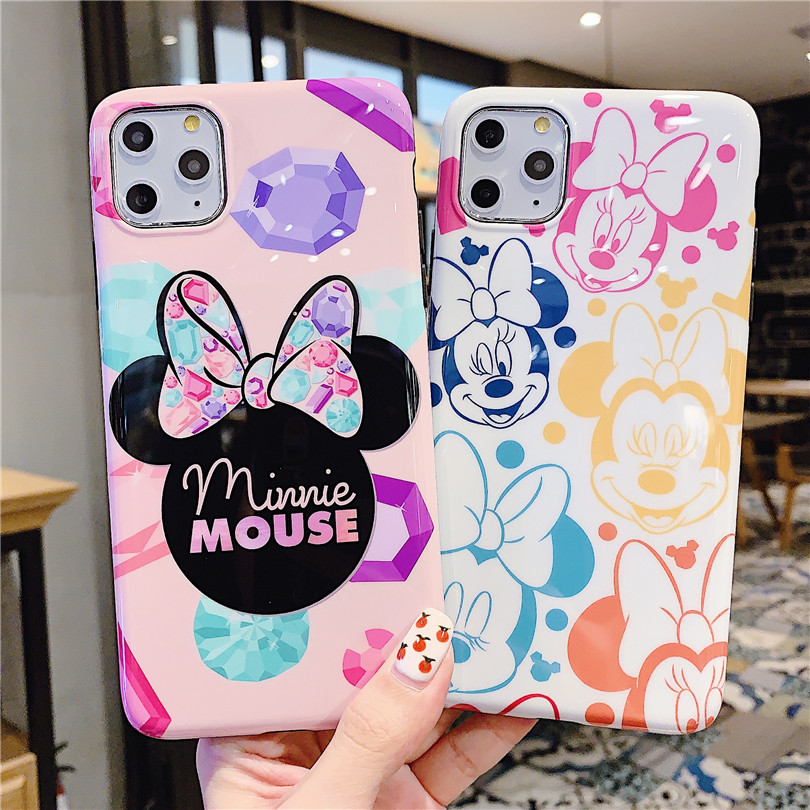 Cute Bow Cartoon Couple Anti-Fall Mickey Minnie For Iphone 6 6S 7 7Plus 8 8Plus Iphone X XR 11 Pro MAX Case Cover Phone Case
