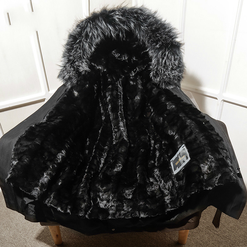 Fur Parka Winter Coat Men Long Jacket Mink Fur Liner Warm Parkas Real Raccon Fur Collar Mink Jacket T-29-18001 KJ1542