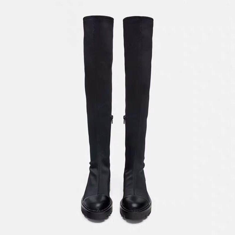 2019 Slim Stretch Lycra genou bottes hautes plate-forme bottes d'hiver femmes bottes longues chaussures d'hiver femmes chaussette bottes sur le genou bottes - 2