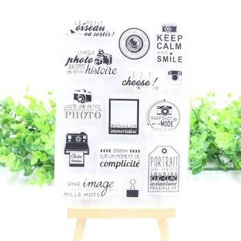 Sello de silicona transparente con palabras francesas, sello para álbum de recortes DIY, sello decorativo transparente para álbum de fotos A012