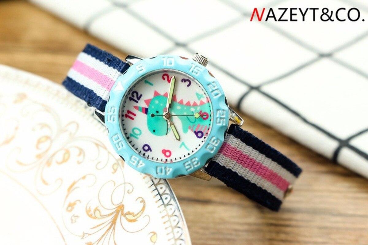 Best-selling Children's Cartoon Dinosaur 3D Quartz Watch Boys And Girls Luminous Hands Nylon Wrist Watch With Colored Ribbon