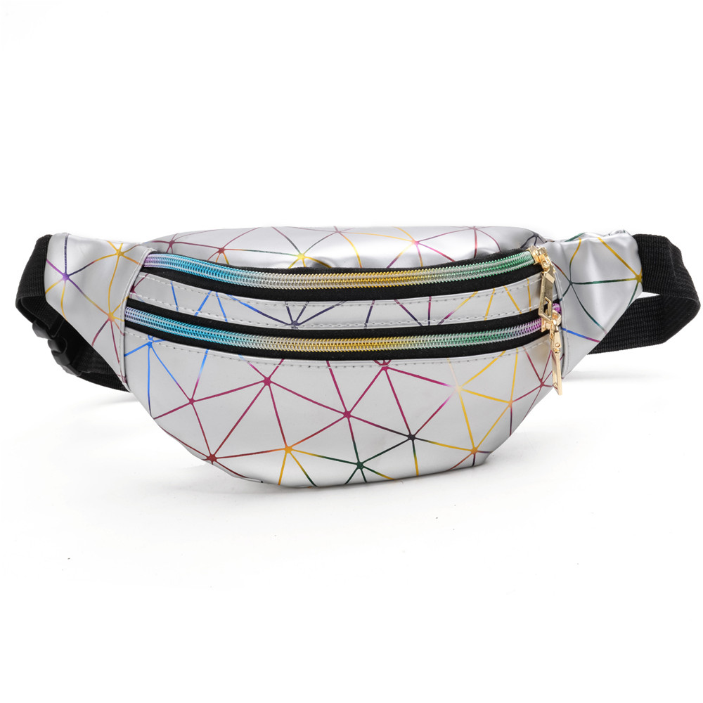 Geometric Waist Packs Laser Chest Phone Pouch Pink Silver Waistbag Fanny Pack Holographic Waistbags Female Belt Bag Black