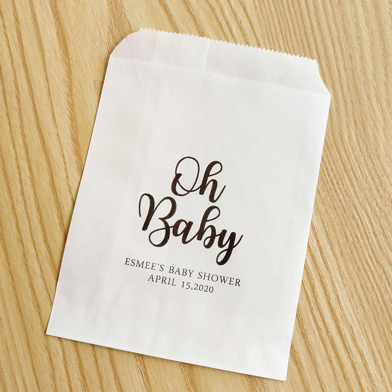 Custom Favor Bags Treat Bags Baby Girl Shower Favor Bags Personalized Candy Buffet Bags Oh Baby