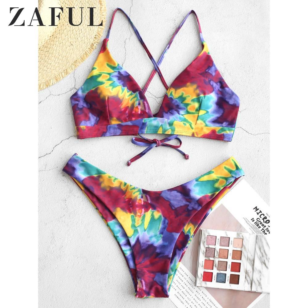 ZAFUL Crisscross Tie Dye High Leg Bikini Swimsuit Tie-Dye Print Vest Lace-Up Bikini Multi Color 2020 New Women High Cut Bikini