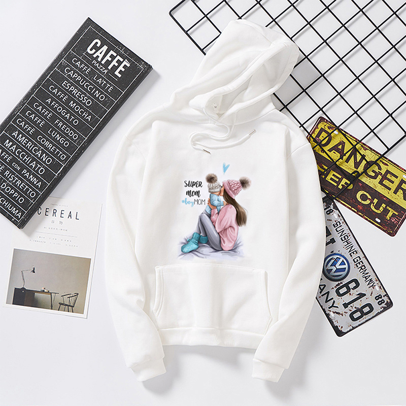 Permalink to Mom White Hoodies Print Mother and child Women Sweatshirts Women's Gown Long Sleeve Top Oversized Female Hoodies Clothes