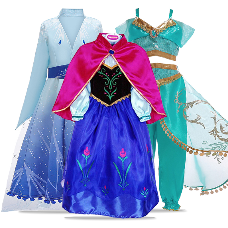 Anna Elsa <font><b>Dress</b></font> Aladdin's Goddess Jasmine Cosplay Costume Kids <font><b>Dresses</b></font> For <font><b>Girls</b></font> Party <font><b>Princess</b></font> <font><b>Dress</b></font> For Toddler <font><b>Girls</b></font> Clothes image