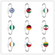 Brazalete de la cadena de la bandera nacional Grecia, Jordania, Italia, Nigeria, Alemania, Irán, República Checa, pulsera de Lituania para regalo de mujeres y niñas