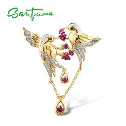 SANTUZZA Silber Brosche Für Frauen 925 Sterling Silber Gelb Gold Farbe Vögel Tier Erstellt Rubin Feine Schmuck Handgemachte Emaille