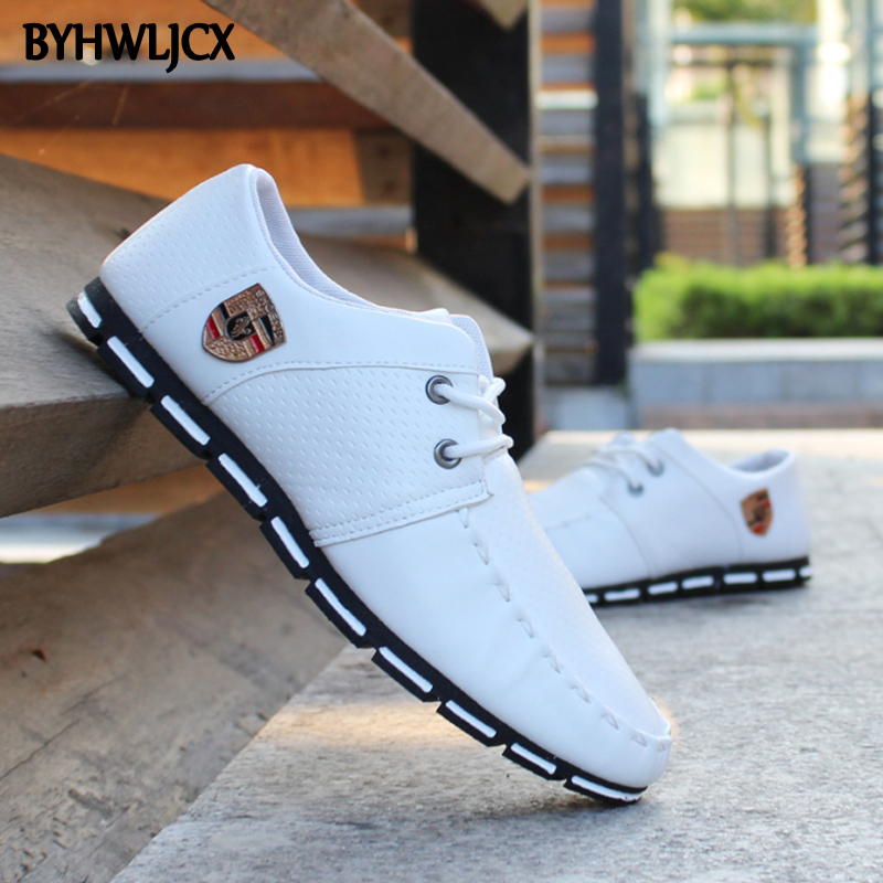 New Men's Leather Casual Shoes Lace-up White Shoes Large Size Non-slip Men's Outdoor Sneakers Fashion High Quality PU Loafers