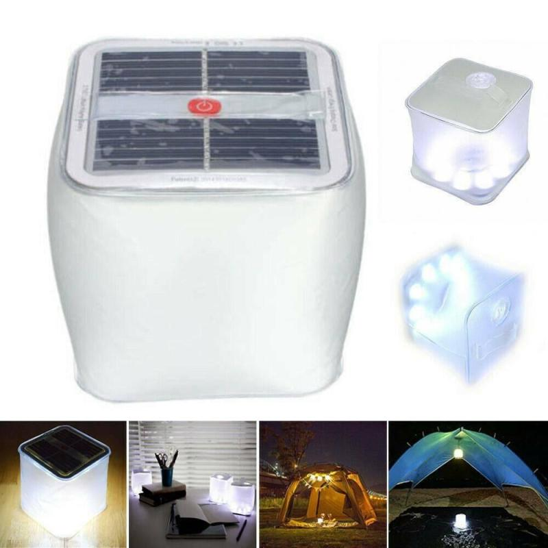 Dreamburgh Foldable LED Solar Power Inflatable Lent Camping Light Outdoor Emergency Lamp Folding Frosted Square Inflatable Lamp