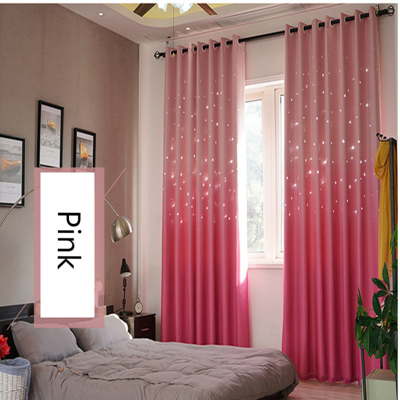Pastoral Curtains for Living Dining Room Lace Fabric Hollow Star Kids Curtain for Bedroom Tulle Curtain Gradual Change Fantastic
