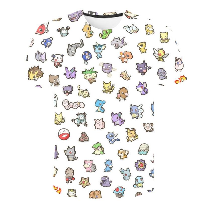 2020 New 3D Print Pokemon T-Shirt Black And White Fashion Casual Short Sleeve Ink Pokemon Pattern Children's Wear