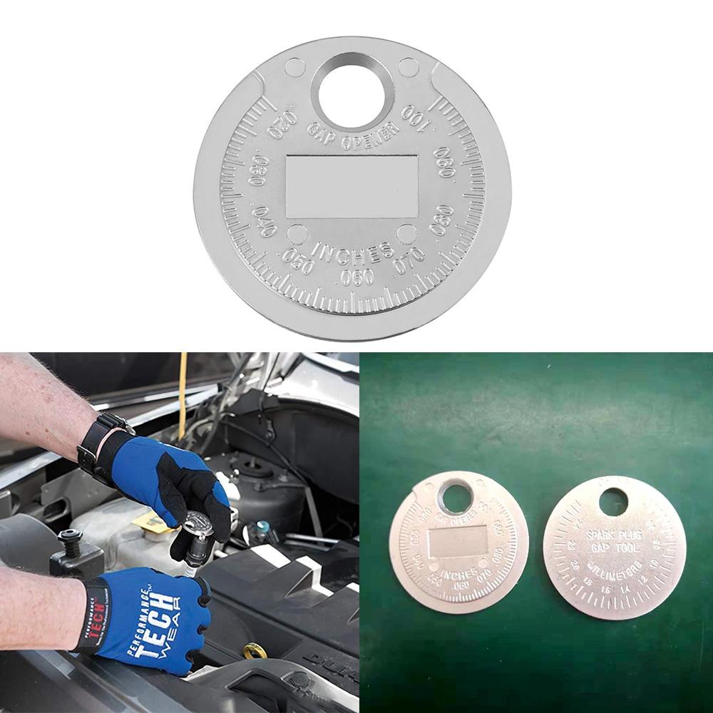 Car Spark Plug Gauge Measuring Tool Coin Type Spark Plug Range Finder 0.6-2.4mm Portable Small Spark Plug Measuring Ruler