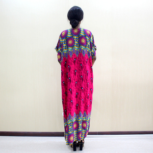 Image 2 - Elegant Casual Cotton Traditional Dashiki Print Short Sleeve Long Dress With Scarf African Dresses For Women Plus Size