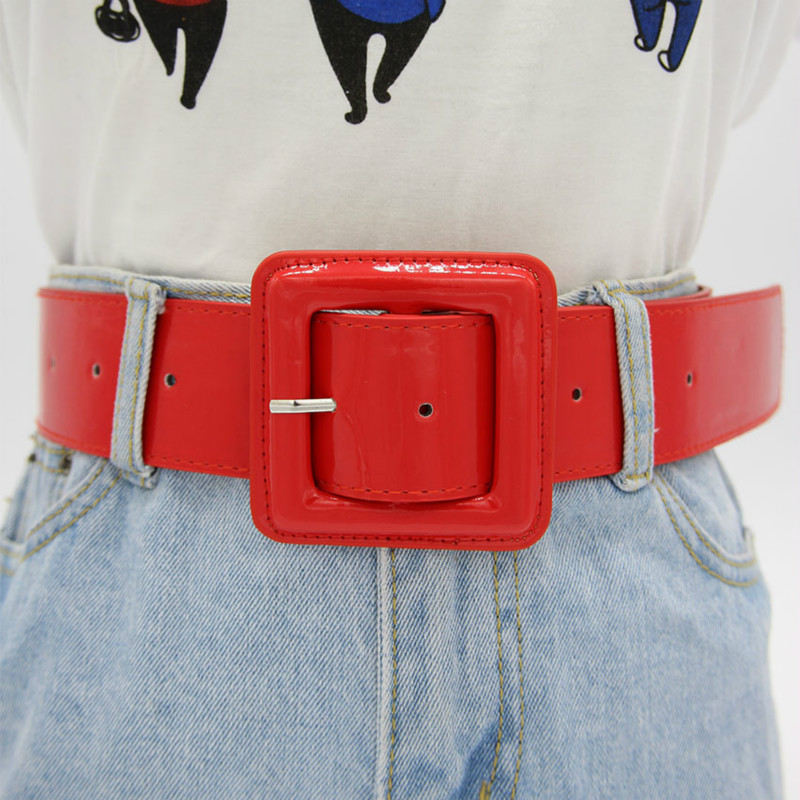 Summer Fashion Female Belts New Designer Patent Leather Waist Band Waist Sealing Wide Red Needle Buckle Ladies Casual Dress Belt
