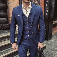 Dot Stripe Vintage Groom Slim Fit Costume Mariage Smoking Homme Men Tuxedo Traje Novio Wedding Party Prom Suit