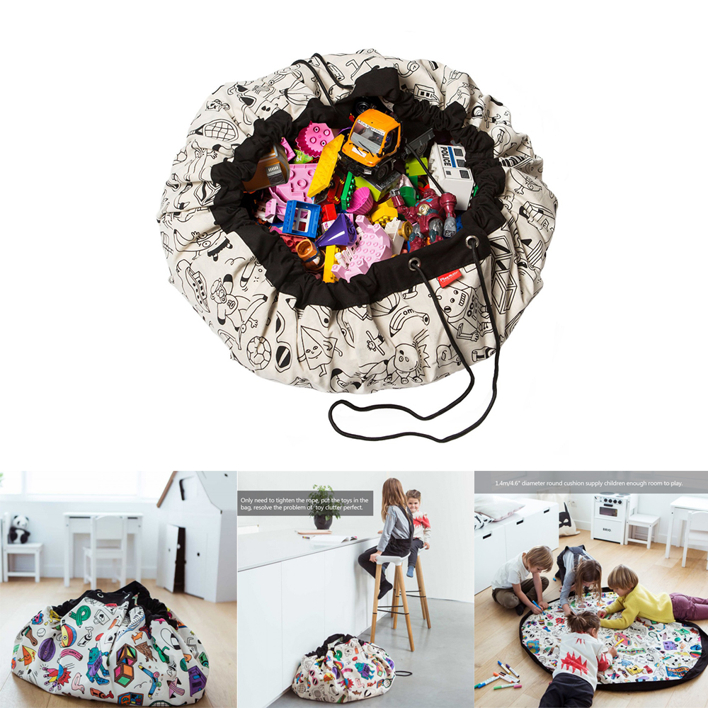 1.4m Portable Kids Toy Waterproof Outdoor Cushion Storage Bags Play Mat Lego Toys Organizer Blanket Rug Bin Box Bunch Pocket